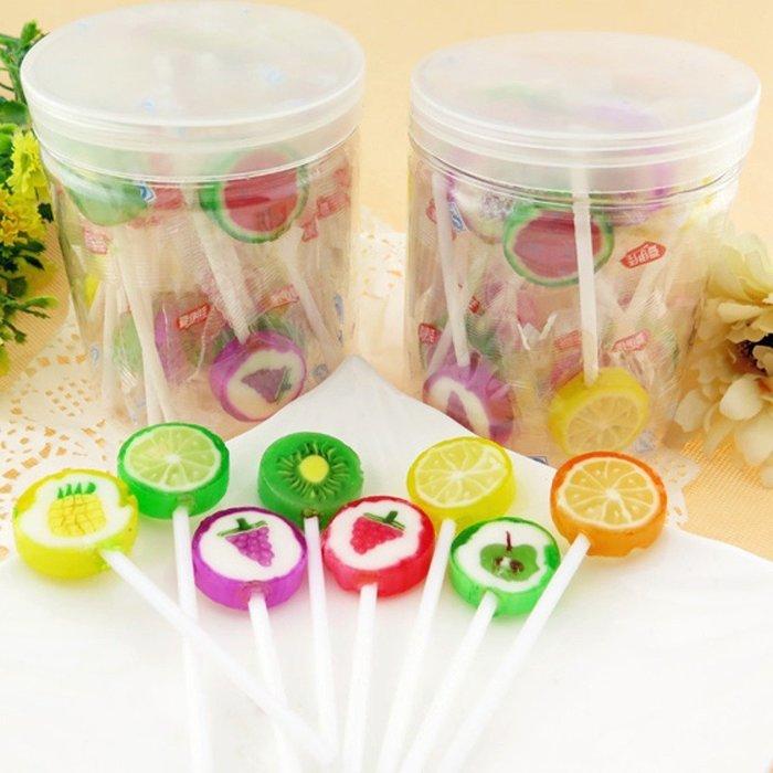 5Cgo【權宇】韓國愛伊佳進口水果糖 硬糖 切片 手工糖果 結婚喜糖 短棒棒糖 24支 保存期一年 含稅會員扣5%
