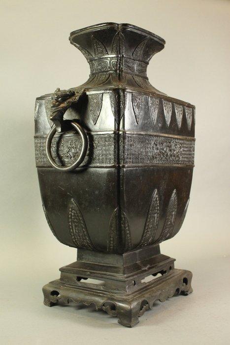 悅年堂 --- 清代 銅 獸面鳳鳥鋪首 雙耳瓶