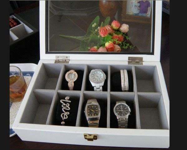 5Cgo 【鴿樓】會員有優惠 20208270471 實木木質手錶盒 高級錶收納盒收藏盒存儲盒 手表 10格 黑/白