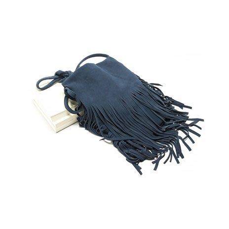 單肩包 真皮 側背包-深藍磨砂牛皮流蘇女包包73vd14[獨家進口][巴黎精品]