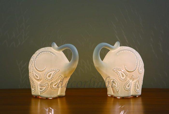 【一盞燈】設計師款 透光 陶瓷 大象 桌燈 檯燈 童趣燈 童趣 夜燈 小夜燈 E14 擺飾 擺飾品