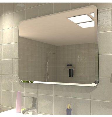 免運 浴室鏡 無框圓角衛浴浴室鏡貼墻壁掛宿舍掛墻洗手間鏡子廁所粘貼防爆歐式