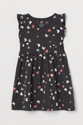 ╭♥︎喬喬屋♥︎╯[H&M]台北門市代買@童裝@ 女童 有機棉深灰色/蝴蝶荷葉袖洋裝 1.5-10Y