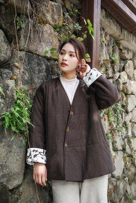 冬裝高雅刺繡夾棉加厚輕盈保暖棉衣/外套(老銀屋)