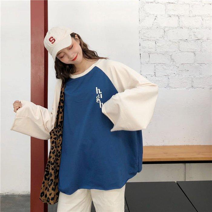 新款韓版學院風寬鬆百搭衛衣字母印花長袖上衣女潮