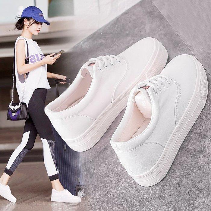 小白鞋白色帆布鞋女韓版低幫內增高學生厚底松糕小白鞋休閑系帶板鞋