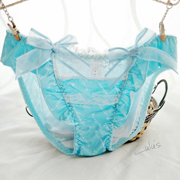 * 低腰內褲 *❉︵ 日系清新可愛彈性舒適印花蝴蝶結 低腰內褲 ︵❉藍色。Let's Go lulu's。AC77