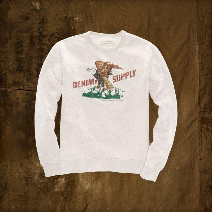 大降價!全新美國名牌DENIM & SUPPLY Ralph Lauren灰白色棉質老鷹圖案長袖圓領上衣!無底價!免運費