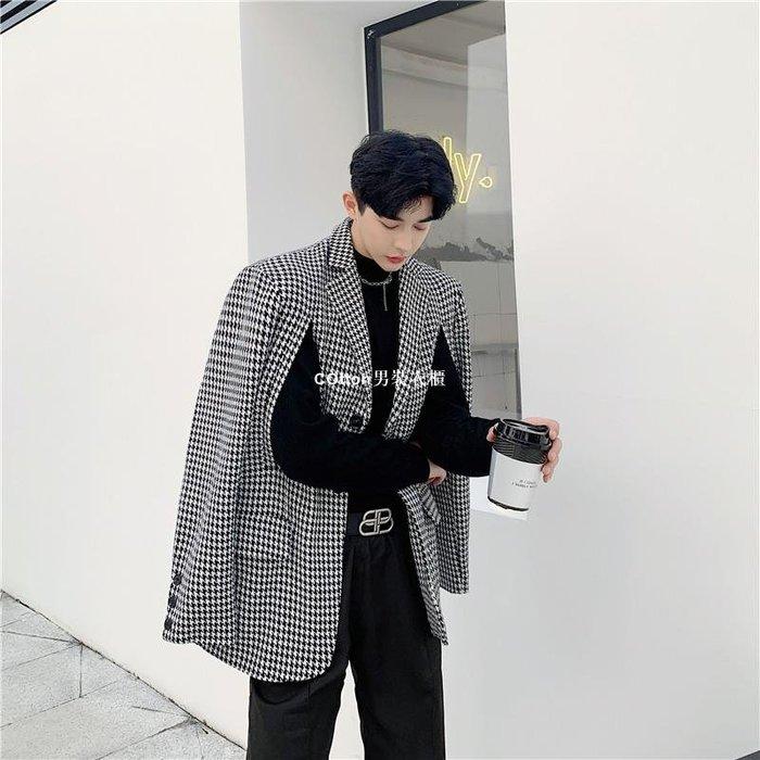 COtton男裝衣櫃秋冬季千鳥格小西裝外套男個性雙開側縫設計款正韓chic西服髮型師