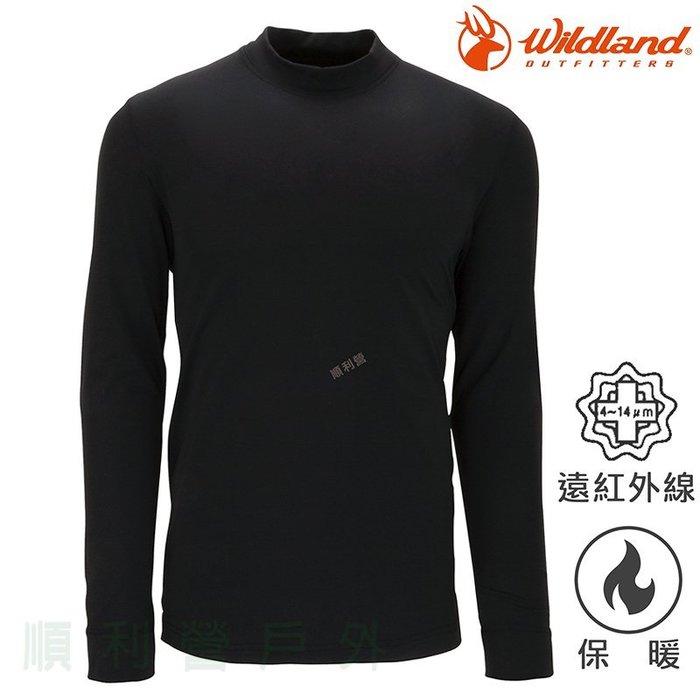 荒野WILDLAND 男款遠紅外線彈性立領保暖衣 W2652 黑色 衛生衣 發熱衣 內衣 OUTDOOR NICE
