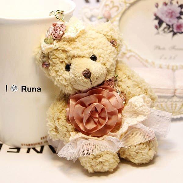 韓國 水鑽 毛絨小熊鑰匙扣/ 包包掛飾 荷葉澎澎蛋糕裙小熊 鑰匙圈/手機吊飾AG299002