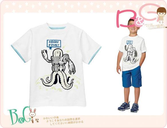 【B& G童裝】正品美國進口GYMBOREE 五爪機器章魚白色短袖上衣7,8yrs