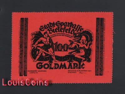【Louis Coins】B800-GERMANY-1923德國緊急貨幣絨布鈔票100 GOLD MARK