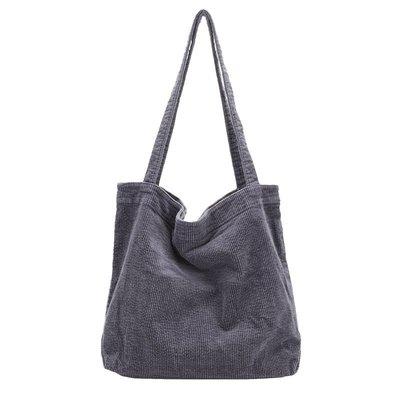 單肩包 燈芯絨 手提包-條紋復古大容量購物袋女包包5色73wo39☆奧莉芙☆