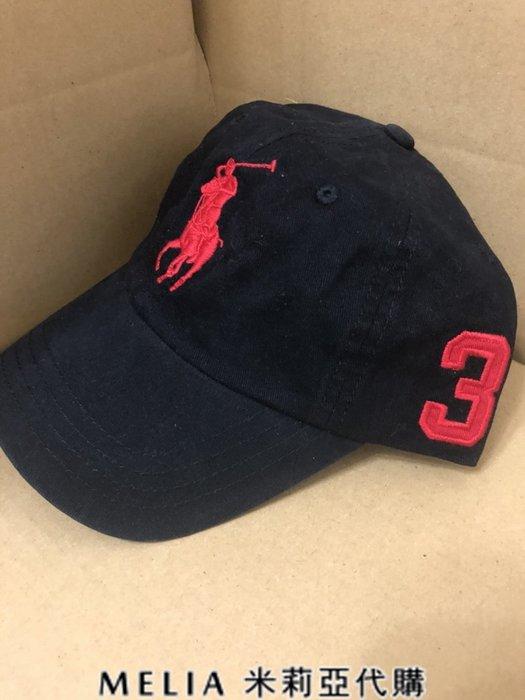 Melia 米莉亞代購 美國店面+網購 Ralph Lauren Polo 大馬 3號標 老帽 棒球帽 帽子 黑色紅馬