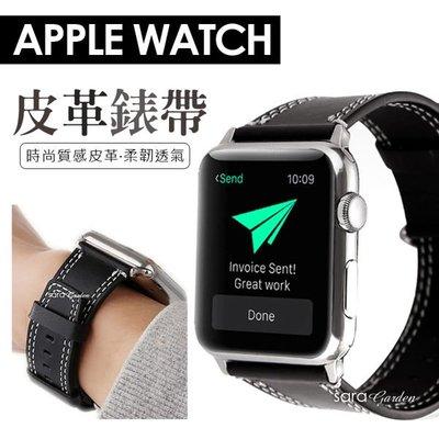 質感雙縫線 Apple Watch 1 2 3 錶帶 38mm 42mm 手錶 手環 智慧 替換 皮革 H1028115