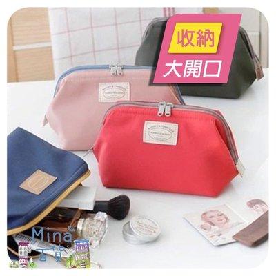 ✿mina百貨✿ 韓版 新款 大開口隨身化妝包 收納包 雙拉鍊設計 小物收納【B00046】