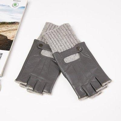 真皮手套 半指手套-山羊皮拼接針織羊毛男手套4色73wm36[獨家進口][米蘭精品]