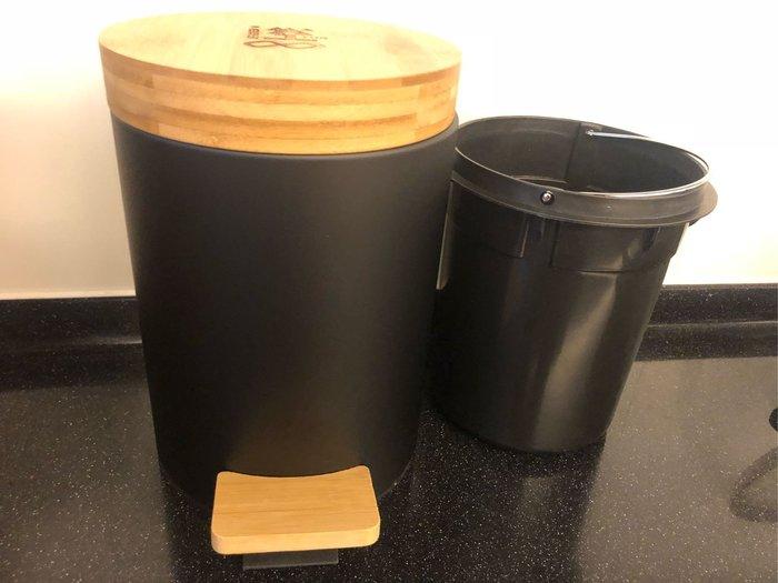 全新~~工業風環保竹蓋垃圾桶~~按壓掀蓋可掛式小垃圾桶~