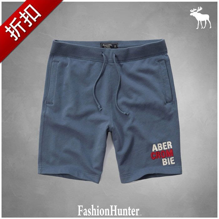 折扣【FH.cc】A&F 短棉褲 短褲 Logo Fleece Shorts 藍 刺繡Logo HCO