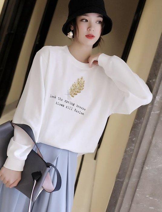 純棉亮片刺繡毛圈棉T恤 1320