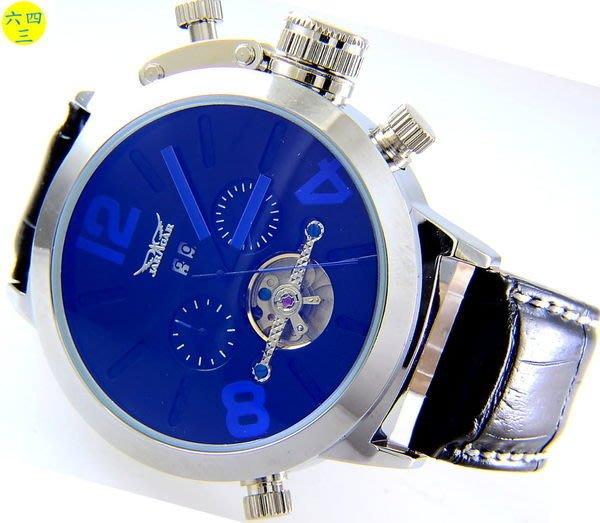 (六四三精品)超級大錶徑5.0..雙眼五針.月份.星期.日期似陀飛多功能機械錶!藍.紅.橘可選!