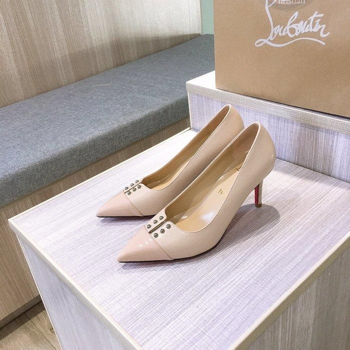 CL紅底鞋 高跟單鞋經典款 鉚釘開口中跟鞋 扣百搭通勤工作鞋34-42碼女鞋