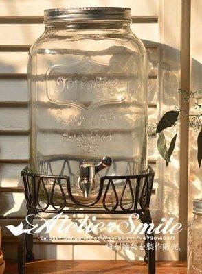 [ Atelier Smile ] 鄉村雜貨 美式復古 玻璃冰桶 酒桶 飲料桶 附鐵架 5公升 新款 附水龍頭