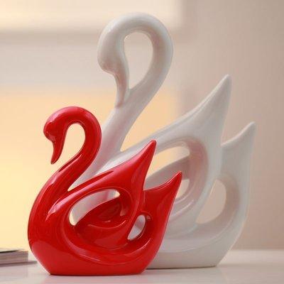 【優上精品】家居飾品新房裝飾擺件陶瓷工藝品結婚禮物紅白天鵝(Z-P3271)