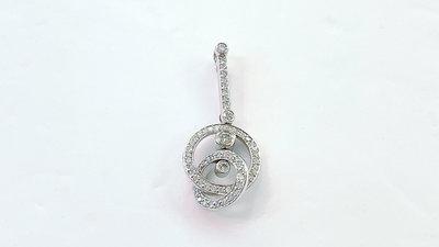 88725 大千典精品 秦老闆 流當品 天然鑽石墜子 圓形造型 平常戴 設計款 情人節母親節禮物 同款耳環