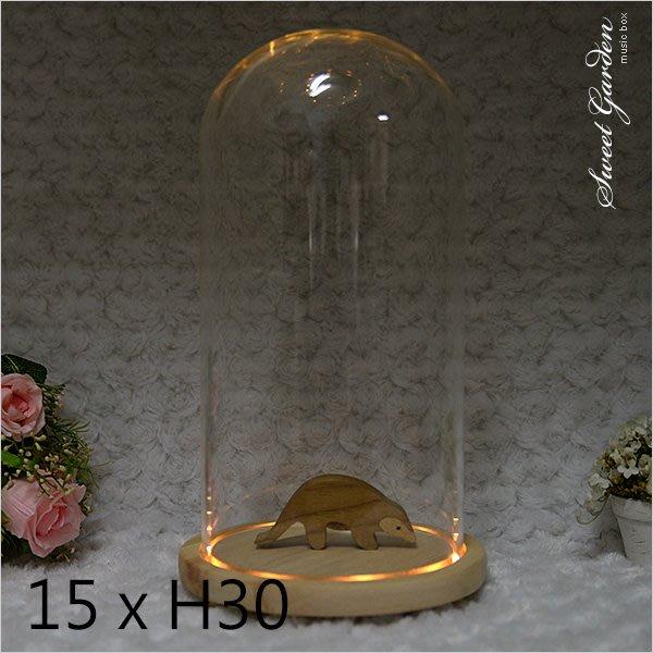 Sweet Garden, 15*高30cm玻璃罩+帶燈原木底座 LED燈 送電池 預購