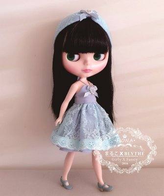 Blythe Miss藍藍 洋裝【まるこ手工縫製小布娃娃衣服】