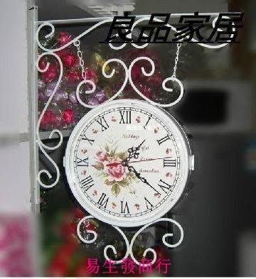 【易生發商行】頂級熱銷款雙面鐘 鐘表 雙面掛鐘 歐式 鐵藝掛鐘 田園雙面 時尚F6002