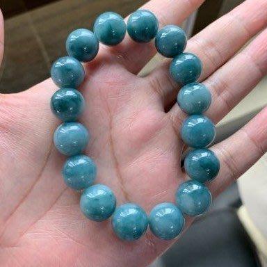 翡翠A貨~13.4MM大藍珠~艷藍~玉珠手串~珠鍊~珠子~