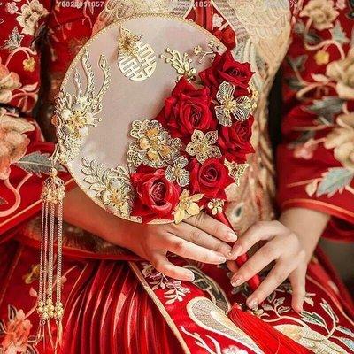 抖音同款中式新娘遮面手捧花古風結婚秀禾婚禮團扇出嫁喜扇成品[扇子]-XJ20016