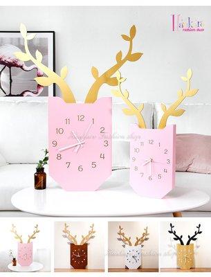 ☆[Hankaro]☆ 小清新簡約北歐風麋鹿造型掛鐘(大尺寸款)