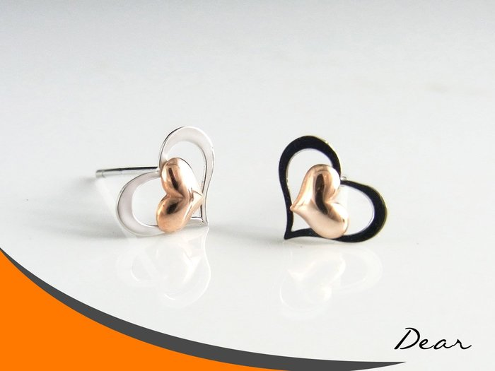 ◎【 Dear Jewelry 】◎ 韓風雙心雙色玫瑰金 白K金 耳環│生日禮物、送禮自用皆可-免運