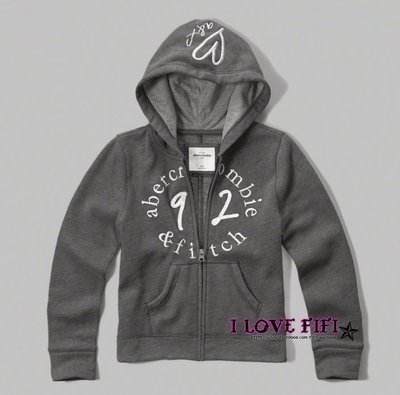❤美國專櫃帶回真品❤a&f童裝abercrombie&fitch kids girl hoodie刺繡連帽外套-灰色