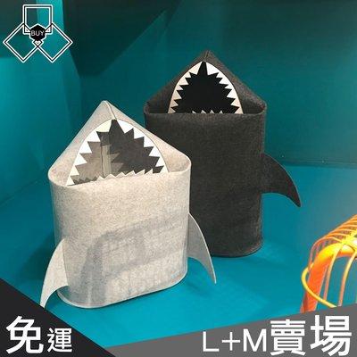 ✱三口BUY家✱『M+L號賣場免運優惠』北歐風毛氈鯊魚收納袋  18A019