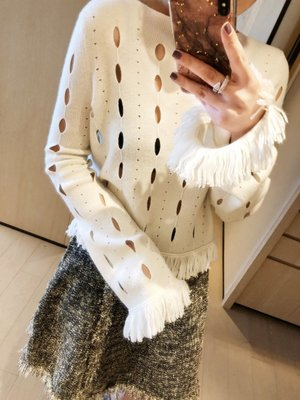 《巴黎拜金女》時髦洋氣鏤空洞洞流蘇羊絨針織毛衣