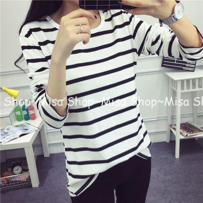 Misa Shop~長袖條紋上衣 黑白雙色  HY-050