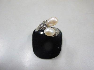 二手舖 NO.3968 天然珍珠 鑲鑽造型戒指 首飾飾品 全新