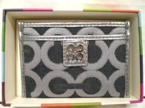 COACH ** 46808  **  銀灰色 clogo 卡片, 信用卡夾(有現貨)