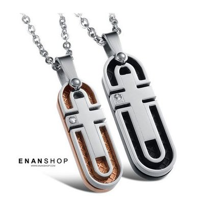 【買1送6】惡南宅急店【7524A】橢圓牌十字設計 鈦鋼項鍊 情侶對鍊 情侶項鍊 不鏽鋼白鋼 項鍊