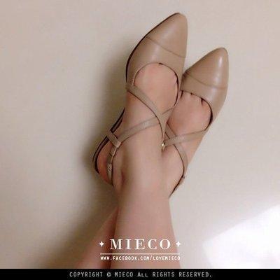【Mieco】全真皮復古交叉繞帶鏤空瑪莉珍尖頭涼鞋 red enchantress