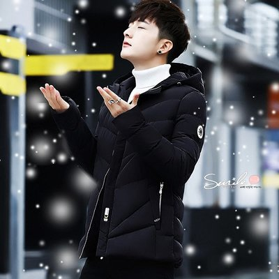 【Y192】SMILE-簡約保暖.冬季男裝加厚短款羽絨棉襖外套