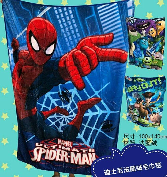 ///可愛娃娃///~正版迪士尼毛巾毯~法蘭絨毯~蜘蛛人/玩具總動員/怪獸電力公司-140X100公分