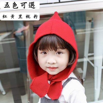 Q媽 保暖護耳帽 精靈球球帽  童帽 連帽圍脖 兒童圍巾 寶寶帽子 保暖帽 禦寒帽 小紅帽