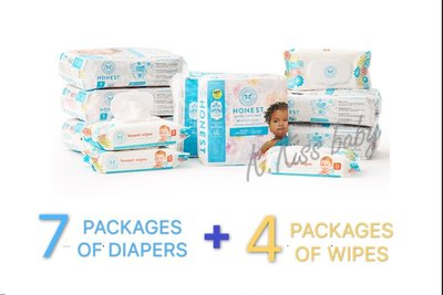 【美國預購】The Honest環保 有機 無毒 嬰兒尿布一箱(7包尿片+4包濕紙巾)