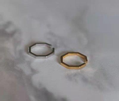 正韓 [銅.戒指] 八角 線 開口戒指 耳夾 octagon open ring【NN333】